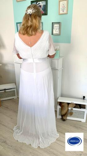 Curvy Blanc Robe de mariée robe de mariée Bureau des mariages manches courtes 42 44 46 48 50 52 54