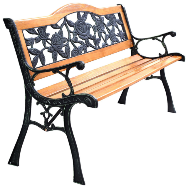 Awesome Metal Wood Frame Garden Park Bench Outdoor Deck Porch Patio Furniture Chair Seat Caraccident5 Cool Chair Designs And Ideas Caraccident5Info