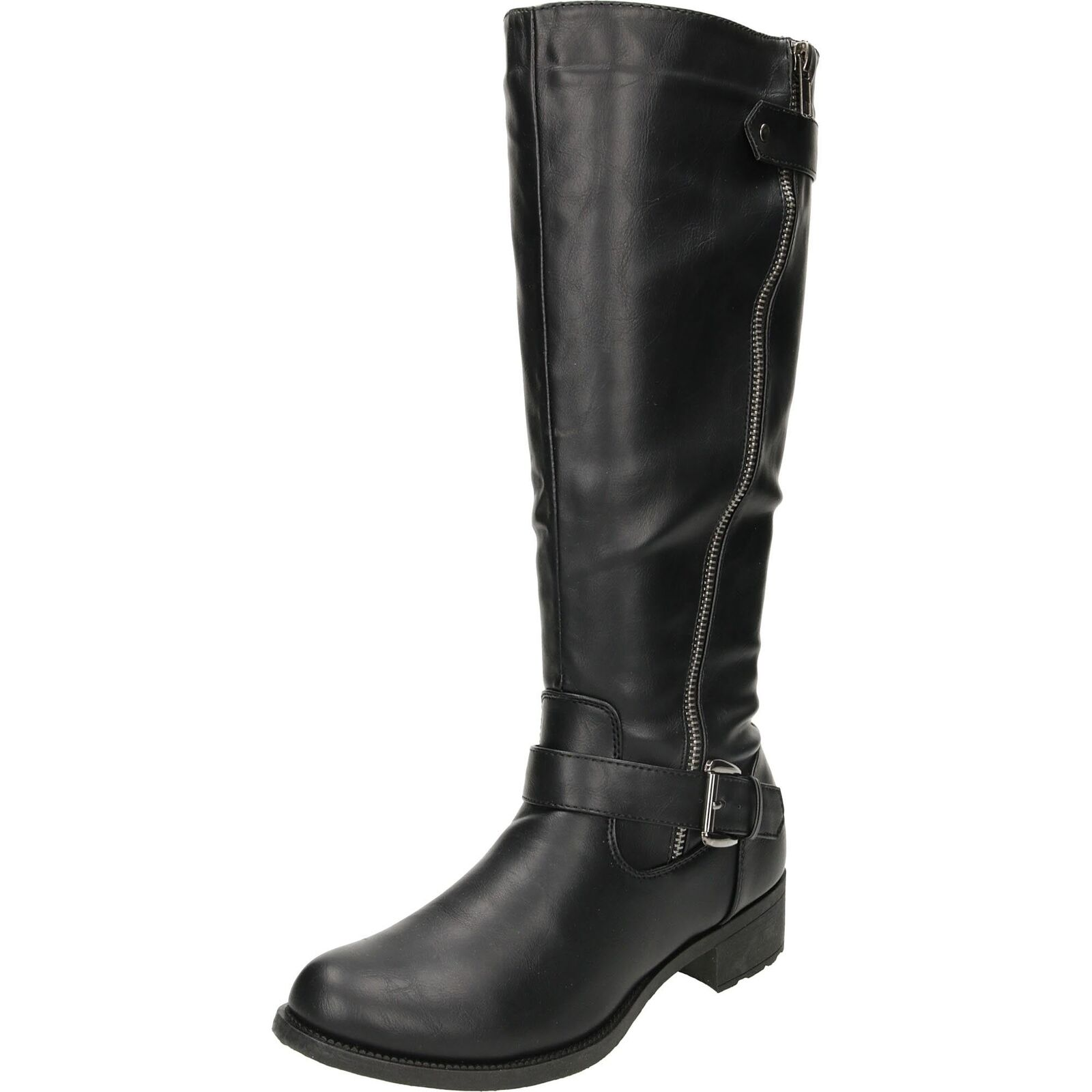Knee High Flat Boots Riding Style Black Biker Low Heel Zip Ladies Shoe Gothic