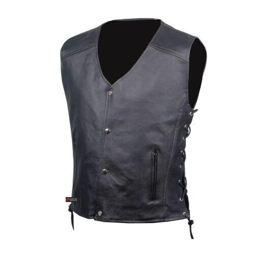 Men/'s SOA Motorcycle Clothing Biker Leather Vest Club Concealed Carry