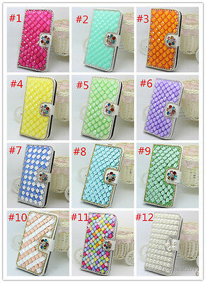 Bling Diamonds Pearls flowers PU leather flip wallet case cover skin For Huawei
