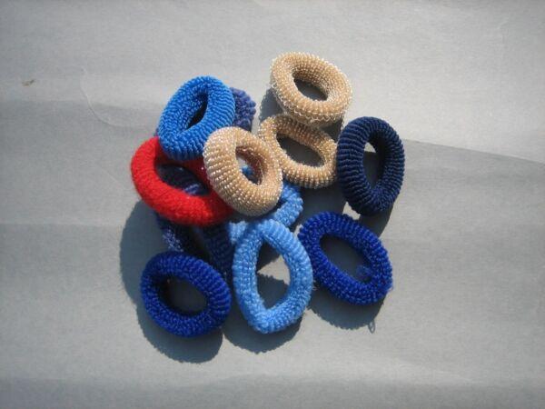 12 Kleine Haargummis Aus Frottee Blau, Beige Und Rot 2 - 4 Cm Durchmesser Weder Zu Hart Noch Zu Weich