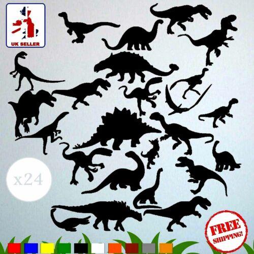 Dinosaur Wall Stickers /& Decals x24 Assorted Vinyl Art Kids Bedroom Removable