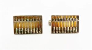 VINTAGE-STERLING-SILVER-MADE-IN-HONG-KONG-MOVABLE-ABACUS-MENS-WOMENS-CUFFLINKS