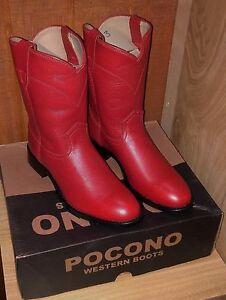 POCONO-Red-Leather-Children-039-s-Youth-Western-Kids-Roper-Cowboy-Boots-1566-NIB