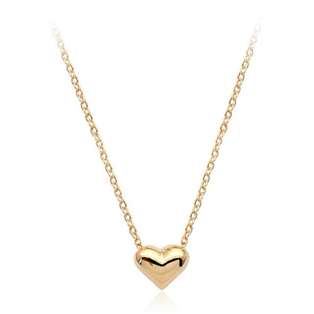 18k Gold Plated Dainty Mini Love Heart Princess Necklace Choker Chain 45cm