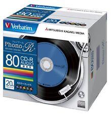 Ya08287 20 Verbatim Blank Music CDR Discs 80min 24x Cd-r Color Mix Made in Japan