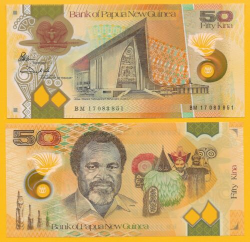 UNC Polymer Banknote Papua New Guinea 50 Kina p-new 2017 2018