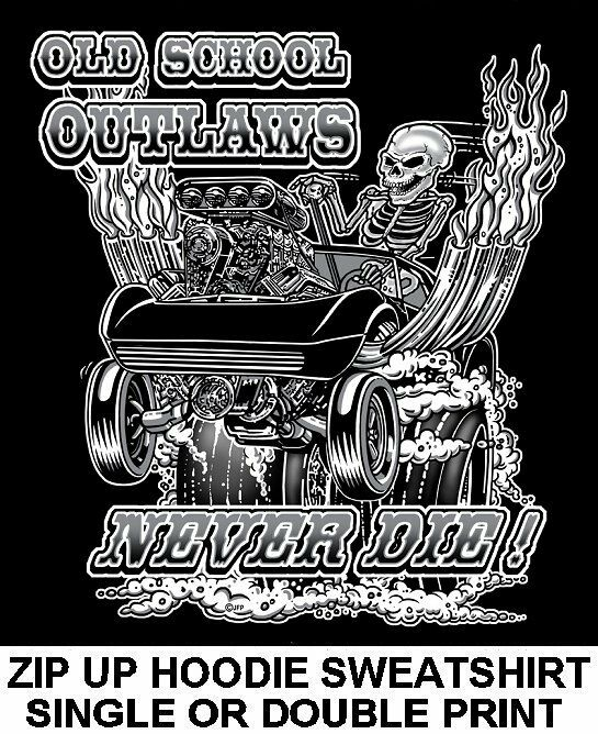 1968-83 OLD SCHOOL MUSCLE HOT ROD RACE BLOWER CAR SKULL ZIP HOODIE SWEATSHIRT 16