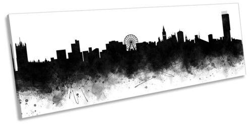 Manchester Abstract City Skyline Print Panorama TOILE murale ART Photo Noir