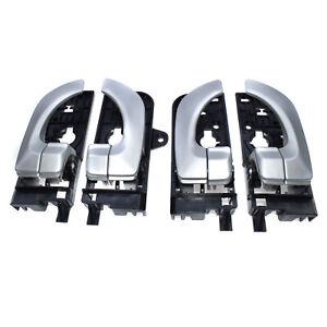 For Hyundai Sonata 2.4L 3.3L Silver Interior Inner Door Handles Set of 4