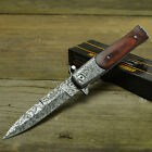TAC FORCE Speedster Assisted Open Stiletto Milano Damascus Etched Knife New!