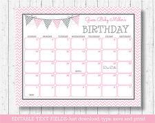 Modern Pink Chevron Printable Baby Due Date Calendar Editable PDF