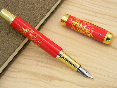 Red Porcelain With Golden Dragon Painting Rollerball Pen