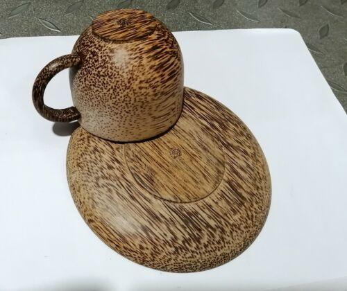 Coconut Wood Coffee Tea Cup Hand Craft Beer Mug Wooden Plate Gift Eco Friendly