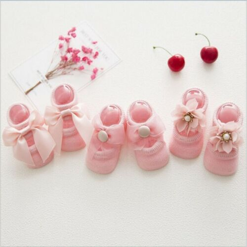 3 Pairs Newborn Baby Girl Toddler Lace Frilly Bow Ankle Anti Slip Sock Set 0-3T