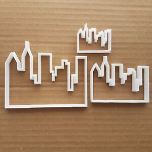 Horizonte-de-la-ciudad-edificio-Forma-Galleta-galleta-pasteleria-Fondant-Sharp-de-masa