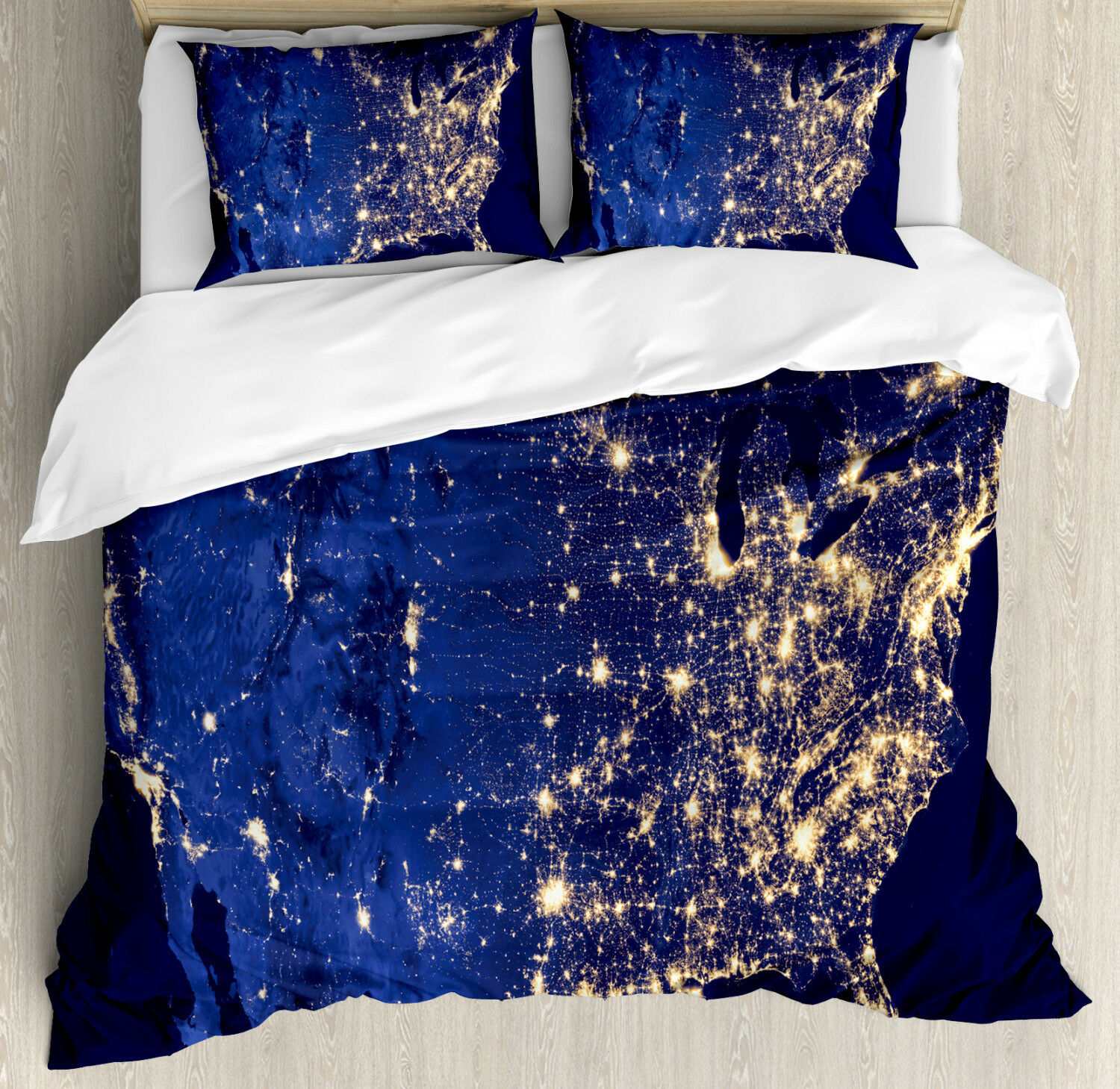 Night Duvet Cover Set with Pillow Shams America Continent Space Print