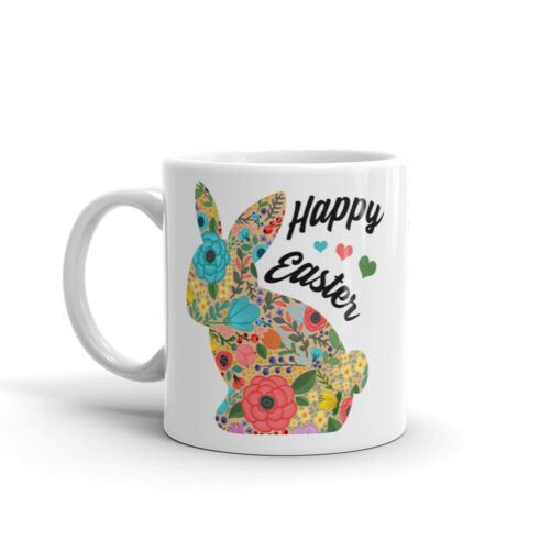 Happy Easter Bunny Coffee Mug Floral Rabbit Tea Cup Cute Easter Gift Friends Mom