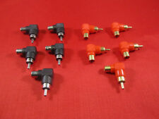 Lot of 10, RCA Male to Female Right Angle Adapter 90 Degree, Black and Red.