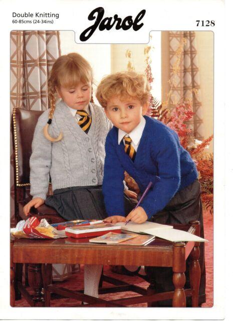 "Jarol 7128 School Cardigan Knitting Pattern DK 24-34/"" Cables Repro"