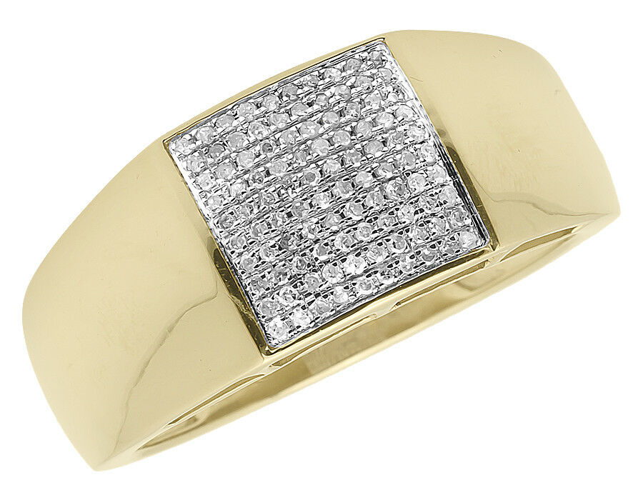 10k Yellow gold Mens Round Pave Diamond Square Fashion Pinky Ring 0.30ct