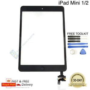 Black-iPad-MINI-1-2-Digitizer-Touch-Screen-Glass-Replacement-IC-Home-Button