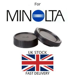 NEU-Body-amp-Rear-Lens-Cap-fuer-Minolta-MD-Mount-UK-Verkaeufer-SLR-Film-Kamera-Objektiv