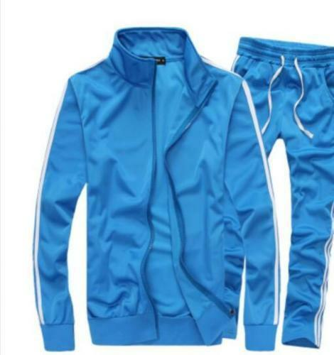 Fashion Men/'s Zippered Sports Running Suits Long Pants Casual Sweatsuits Jackets