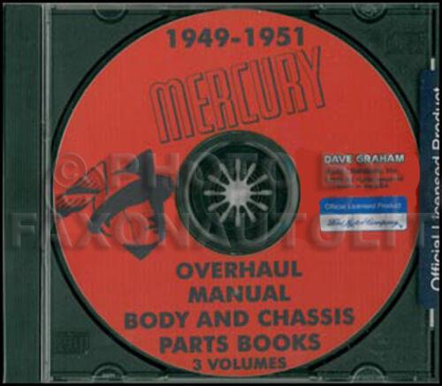 1949 1950 1951 Mercury Shop Manual 49 50 Parts Book CD Repair Service and Part