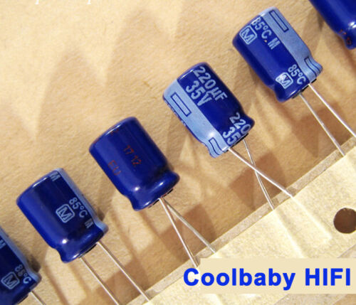 50PCS  Panasonic M 220UF 35V 8*11.5mm 85°C  Pitch 3.5mm electrolytic Capacitors