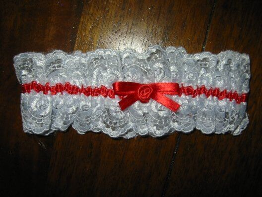 Garter off Peak Wedding Bride White with Red Band New