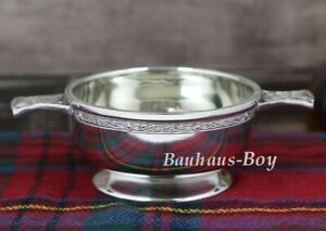 "5/"" Inch Handmade Pewter Quaich with Celtic Knot Handles"