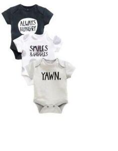 Ex Store Baby Boy Grey 3 Pack Slogan Vests Bodysuit X 3 Age 0 1 18 24 Months Ebay