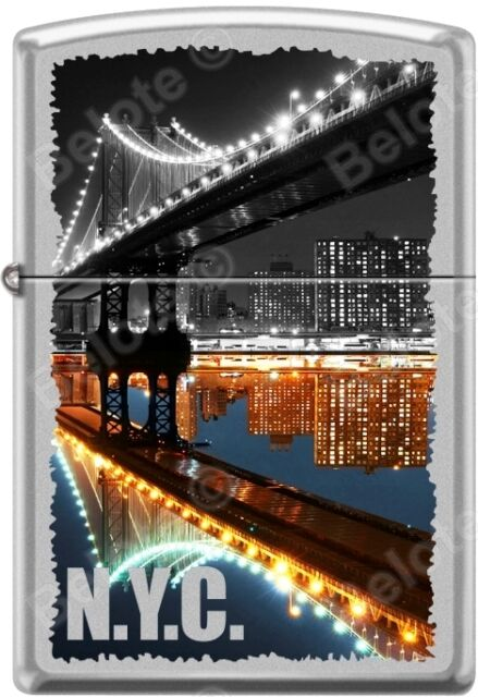 Zippo New York City Manhattan Bridge at Night Satin Chrome WindProof Lighter NEW
