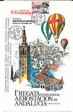 España. Diptico con sello y matasello de la Iª Regata Internacional Aerostación