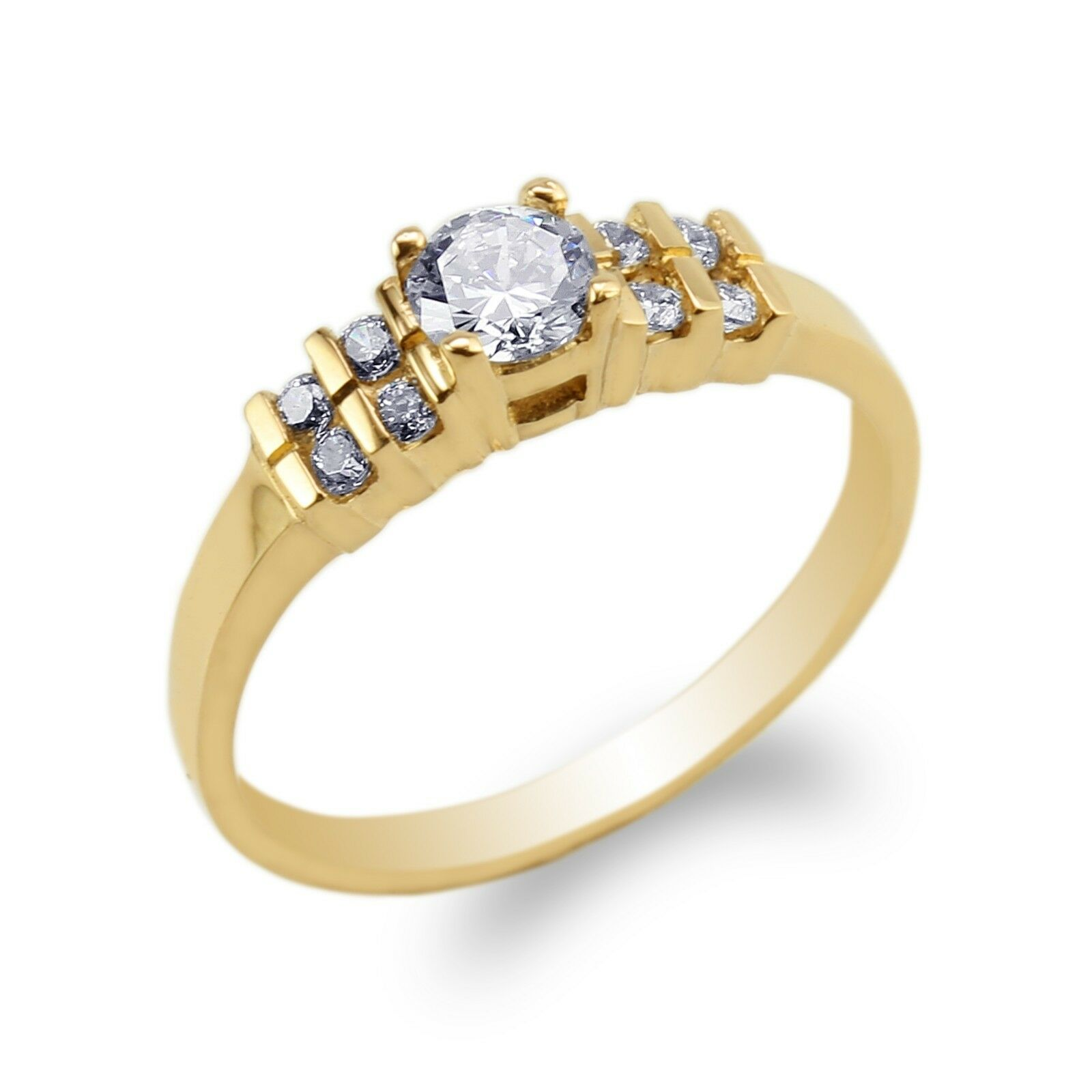 16f8e00493aed Womens 10K 14K Yellow gold Round CZ Elegant Engagement Ring Size 4-9 ...