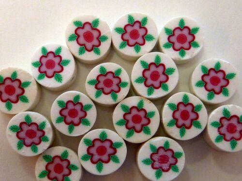 20 fimoperlen disco con acanto niños perlas 10 mm blanco rosa 2144