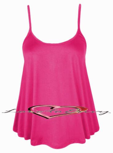 New Ladies Elegant Plain Strappy Swing Top Casual Cami Vest Top £4.99-£5.99.