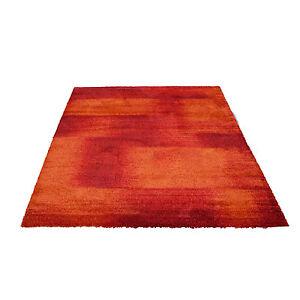 Premium Hochflor Teppich Teppiche Design Frise Farbverlauf Rot