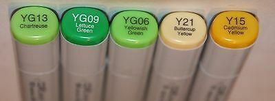 5 Copic SKETCH Markers -CHARTREUSE Set-Alcohol Ink