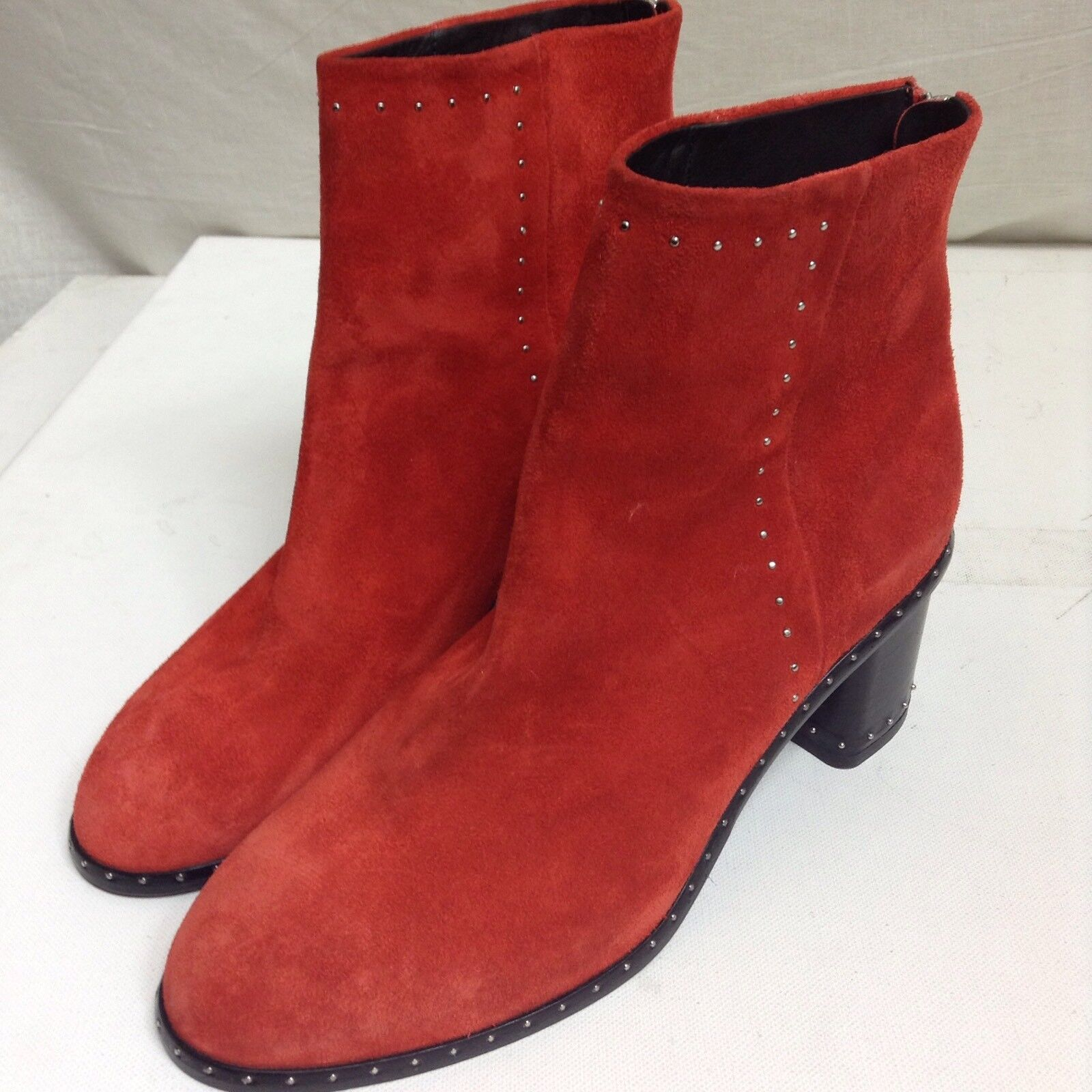 Rag & Bone Nefer Studded Suede Ankle Boots, Red 39 US 9