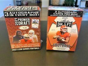 2021 Leaf Draft & Sage Premier Draft Football - 2 Box Lot (Sealed)  5 Autographs
