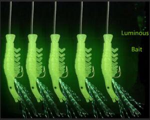 5PCS Soft Fishing Lure Rigs Luminous Shrimp Bait Jigs Lure Glow Rigs Fishing