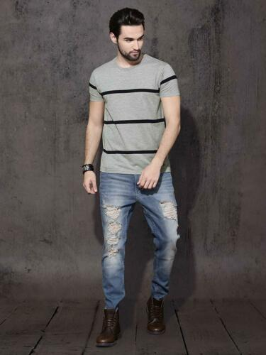 Pure Cotton Striped Printed Gray Round Neck Half Sleeves Casual  Mens T Shirts