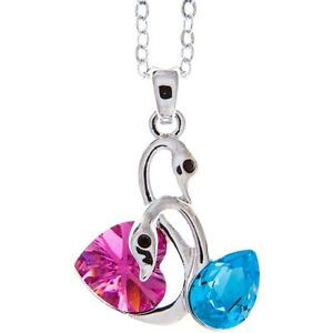 16'' Rhodium Plated Necklace w/ Loving Swans & Rose/Blue Crystals by Matashi