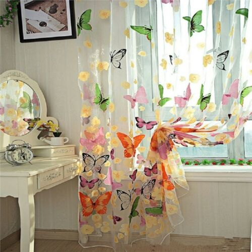 Flower Butterfly Voile Net Curtain Sheer Window Door Divider Screens HR5