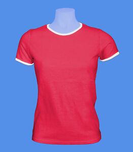 Girlie-Damen-T-Shirt-rot-weiss-zweifarbig-S-Buendchen-Rohware-Russell-unbedruckt