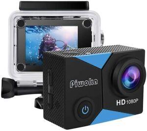 Piwoka Action Camera 1080P 12MP Waterproof