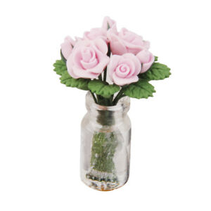 225 & Details about 1/12th Miniatue Bunch Pink Rose Flowers in Glass Vase Dolls House Decoration
